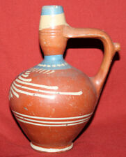 Antique Folk Hand Made Painted Glazed Redware Pottery Pitcher