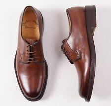 NIB $995 SANTONI FATTE A MANO Double-Soled Antique Brown Blucher 6 D Shoes