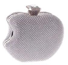 Elegante Plata Diamante Cristal NY Apple embrague Boda fiesta de graduación Noche Bolso
