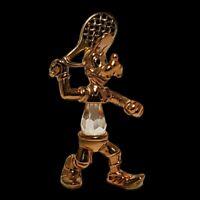 RARE Disney 24kt Gold Plated Lead Crystal Goofy Tennis Lencia Austria Figurine