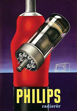 Vintage Latvian 1940s Philips Radio Tube  Ad Poster 13 x 19 Giclee Print