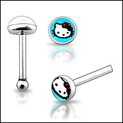 925 Sterling Silver Ball End Nose Stud with Blue Hello Kitty Logo Top