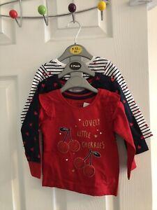 3 Mothercare Primark Girls Baby Long Sleeve Cherry  Heart Pattern T-shirt Tops