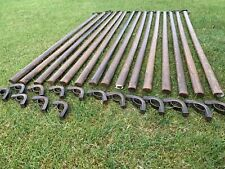 """15 ORIGINAL OLD SOLID OAK WOODEN STAIR RODS AND BRACKETS X 30, 32"""" Long"""