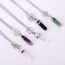 Natural Quartz Crystal Stone Point Chakra Healing Gemstone Pendant Necklace Yoga