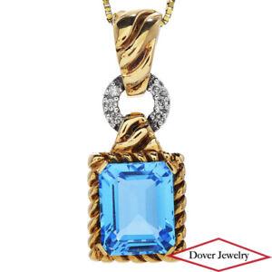 Estate Diamond Blue Topaz 14K Gold Elegant Dangle Drop Pendant 5.3 Grams NR