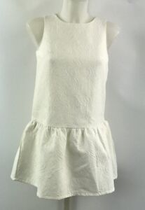 Victoria Beckham for Target White Paisley Embroidered Peplum Tank Size Large