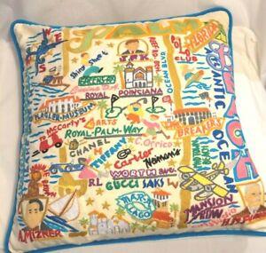 Hand-Embroidered Palm Beach FL Pillow CatStudio Cat Studio 2016 Geography 20x20