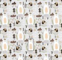 Forest light grey bear trees hedgehog  Cotton Printed Fabric,kids Fat quarter