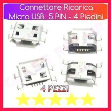 4 CONNETTORI RICARICA Micro USB Tipo B 0.8 mm 5 PIN 4 FISSAGGI TABLET SMARTPHONE