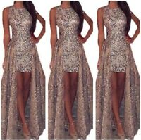 Women's Sequin Evening Prom Ball Gown Dresses Cocktail Party Wedding Sexy Long L