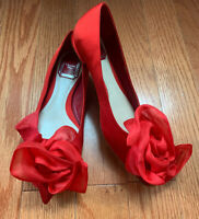 Christian Dior Red Satin Rose Ballet Flats Sz 36.5 NWOB