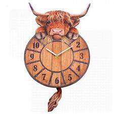 Highland Cow Tickin Wall Clock - Farm Animal Design Wall Art Kids Bedroom Decor
