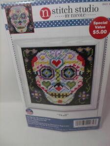 "Design Works Sugar SKULL  Needlepoint Kit 5"" x5"" Painted Canvas"
