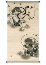 Kyoto Suspendre Défiler Kakejiku Tapisserie Handpaint Fujin Raijin Sotatsu Japon