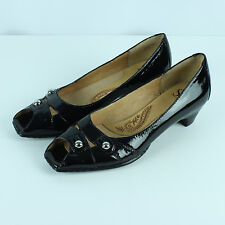 Sofft Patent Peep Toe Heels Size 6.5 Black Leather Low Kitten Heel Pumps Shoes