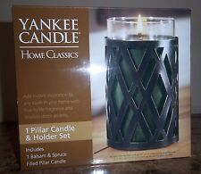Yankee Candle Home Classics Pillar Candle & Holder Set Balsam & Spruce Free Ship