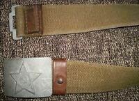 Used USSR Soviet Union Russian Army Military Belt with Buckle ~ Made in 1950s