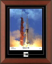 NASA Apollo Saturn 1B Framed Photo Piece Of 1st Stage Metal Rocket Fin Relic Coa