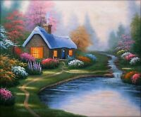 Quality Hand Painted Oil Painting Streamside Cottage 20x24in