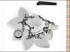 Burberry Stainless Steel And White Acrlic Charm Bracelet Ladies Watch BU5261