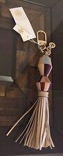 Tory Burch Painted Wood Tassel Bag Charm Key Chain Fob, Soft Camel/Gold $115