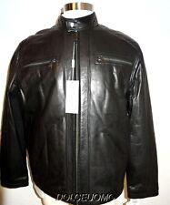 NWT $700 men ANDREW MARC XL XLARGE LEATHER JACKET COAT BLACK MOTO INSULATED