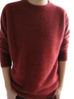 Men's Crewneck  V-neck Pullovers Soft Winter Warm Tops 100% Mink Fur Sweaters