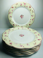 Pfaltzgraff Charlotte Dinner Plates SET 6 Floral Rose Yellow Pink Scalloped 11""