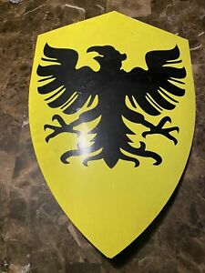 Medieval Yellow & Black Knight Shield Handcrafted Steel Metal