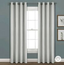Faux Linen Absolute Blackout Grommet Top Single Window Curtain Panel 52x84 Gray