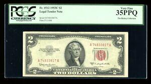 DBR 1953-C $2 Legal Fr. 1512 PCGS 35 PPQ Serial A74833817A