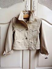 Elsy Juniors Girls short cotton beige jeweled jacket size 6