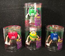 Set of 4 M&M's Bendable Body Characters Red Blue Yellow & Green 2004 Complete