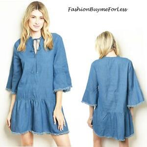 BOHO Hippie Coachella Frilled Bell Sleeve Smocked Denim Tunic Dress S M L XL