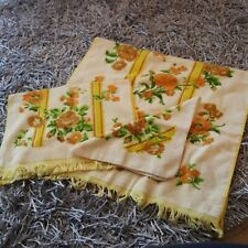 Vintage 3pc Cannon Fringed Floral Bath Towels Lot Yellow Vibrant Flowers