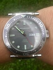 ARAGON A033GRY M DIVER 50 - MEN'S 50MM NH36A AUTOMATIC WATCH W/ CASE. ANDROID!