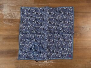 ISAIA Napoli blue floral linen pocket square authentic