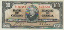 Canada,Bank of Canada,100 Dollars Banknote,2.1.1937,Choice Extra Fine,Bc#27-C