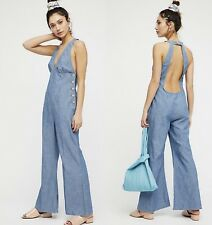 Free People Jumpsuit Dance All Night Chambray Light Denim Halter Open Back 6 NEW