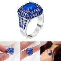 Geschenk Ladys! Zircon Saphirring Zubehör für Schmuck Kristall Blauer Rhinistin