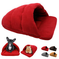 Soft Warm Puppy Cat Dog Bed Nest Kennel Cave House Plush Sleeping Bag Bed Mat
