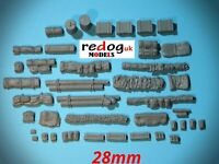 28mm 1/56th Vehicle stowage WW2 Bolt action/Tank War - kit  40 pieces /28b