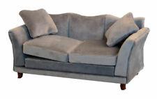 1/12 Scale Dolls House Emporium Grey Modern Velvet Sofa 9317