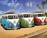 VW Camper Van Stretched Canvas Wall Art Poster Print Surfing Volkswagen Beetle