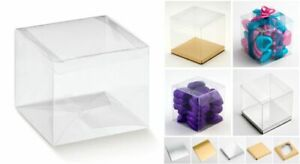 Square Cube Clear PVC Boxes - Plain or with Inserts - Favour Cupcake Sweets
