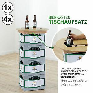 1x/4x Bierkasten Stehtisch Tischaufsatz Einlegebrett Bier Kiefer Bistrotisch Ø60
