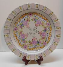 Portuguese Pottery Plate Purple Flowers Scalloped Edges Signed Portugal Vintage