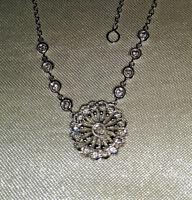 14k fancy diamond white gold necklace