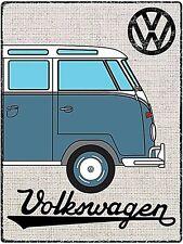 Volkswagen Camper Azul en estilo del Hessian Letrero Metal (RH)